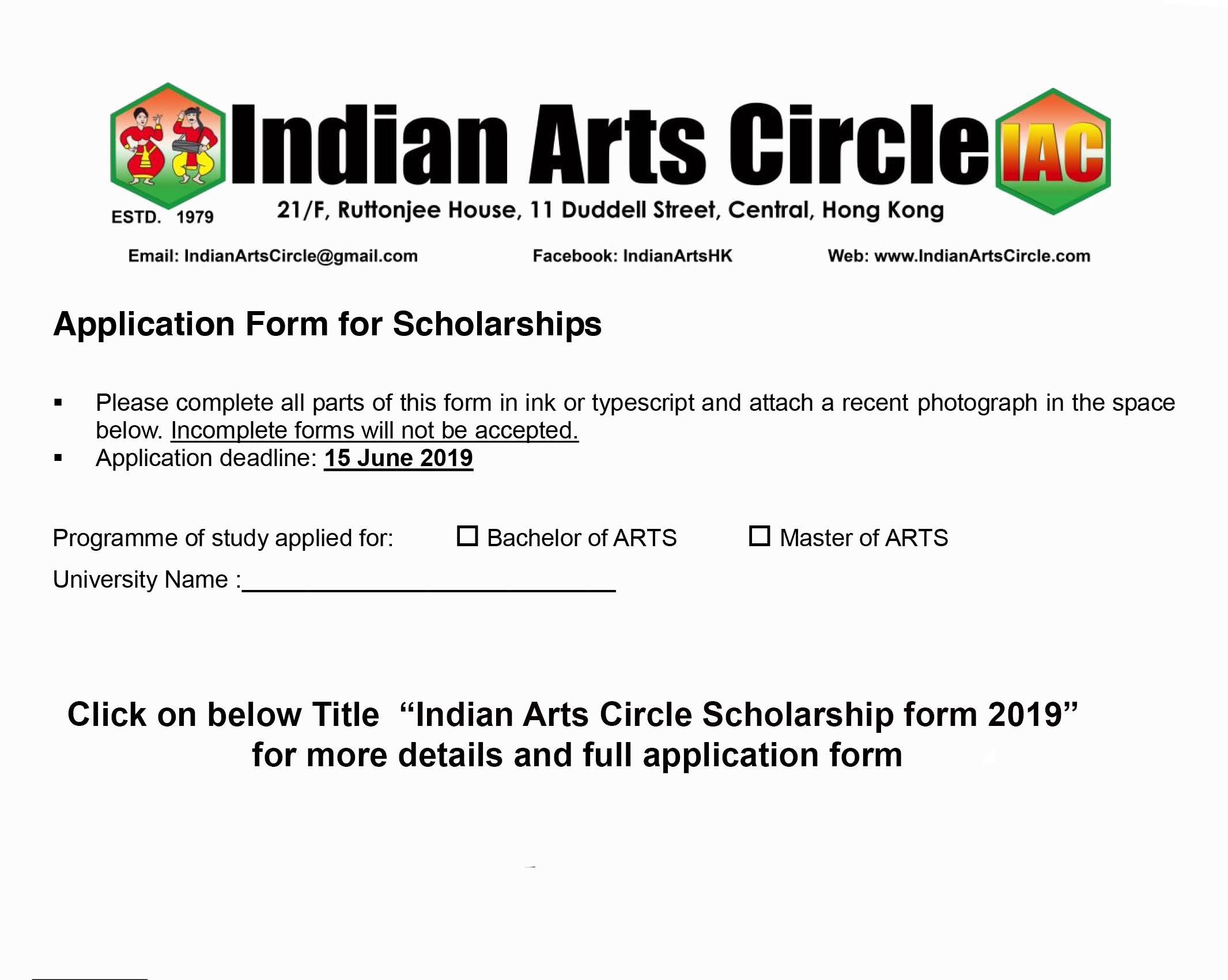 Indian Arts Circle Scholarship form 2019